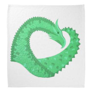 Bandana Dragon vert de coeur sur le blanc