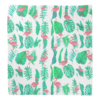 Bandana flamants roses et motif vert tropical de feuille