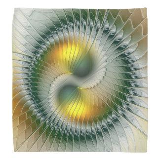 Bandana Fractale colorée d'abrégé sur vert jaune de Yin
