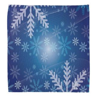 Bandana Hiver bleu avec des flocons de neige