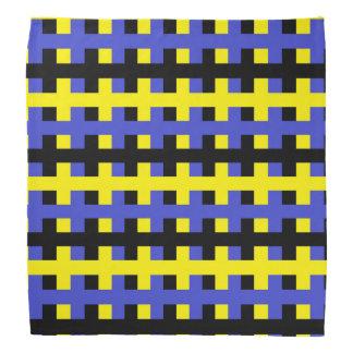 Bandana Jaune abstrait, bleu et noir