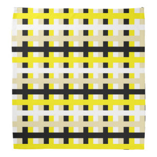 Bandana Jaune, blanc abstraits, beige et noir