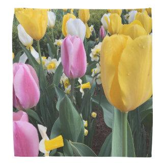 Bandana jaune et rose coloré de mode de tulipes