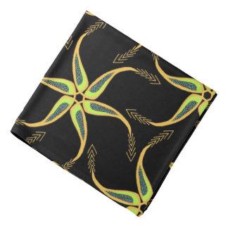 Bandana Jimette Design bleu et jaune sur noir.