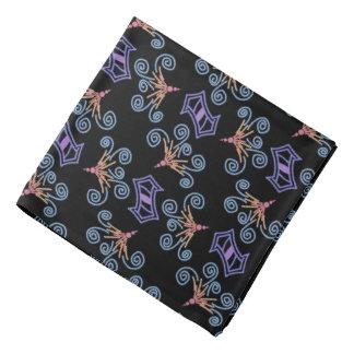 Bandana Jimette Design bleu mauve.et rose sur noir