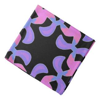 Bandana Jimette Design bleu mauve rose sur noir.