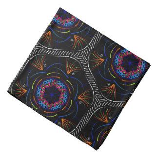 Bandana Jimette Design bleu rouge blanc sur noir