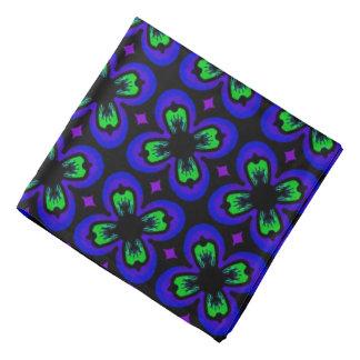 Bandana Jimette Design bleu vert et mauve et noir.