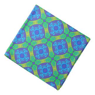 Bandana Jimette Design bleu vert et mauve jaune.