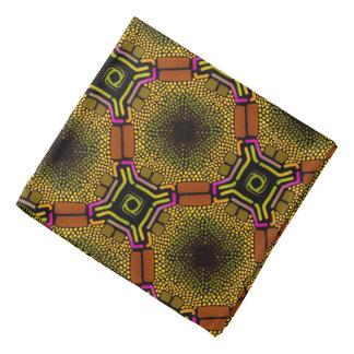 Bandana Jimette Design brun jaune et rose sur noir