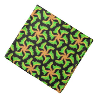 Bandana Jimette Design orange et vert sur noir.
