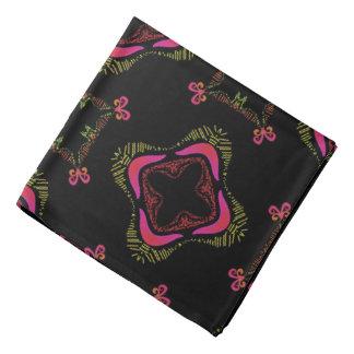 Bandana Jimette Design rose et jaune sur noir