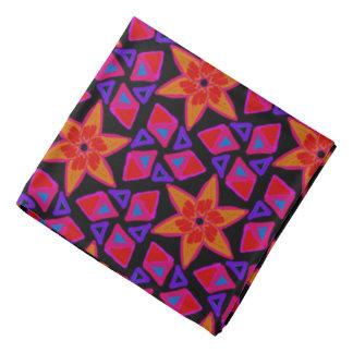 Bandana Jimette Design rouge orange mauve sur noir
