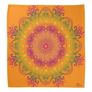 Bandana Mandala floral ethnique sur le fond orange