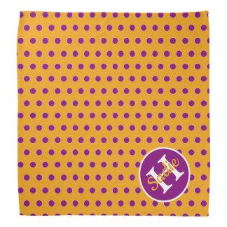 Bandana Monogramme jaune et pourpre d'or de point de polka