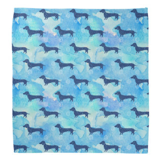 Bandana Motif bleu de teckel d'aquarelle de parties