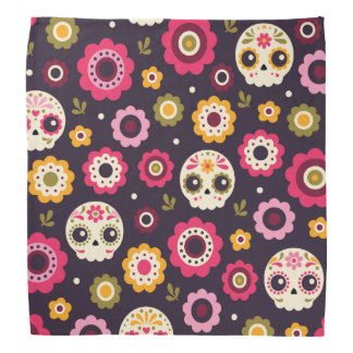 Bandana Motif floral de crâne mexicain de sucre