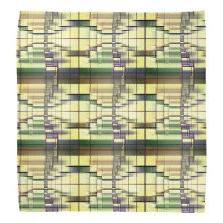 Bandana Motif géométrique gris crème vert en pastel de