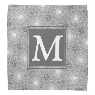 Bandana Motif gris de cercles de monogramme