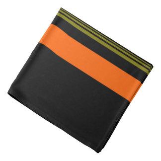 Bandana Motif rayé vert noir orange décoré d'un monogramme