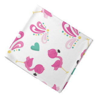 Bandana Motif rose lunatique de flamant