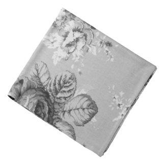 Bandana Mouchoir floral vintage moderne noir et blanc de