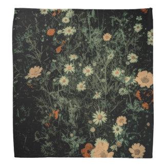 Bandana noir de Bohème de fleur sauvage de marguerite