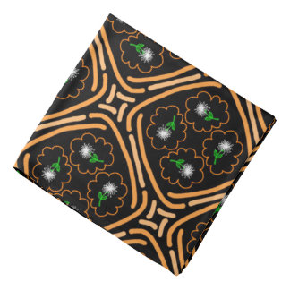 Bandana Noir vert blanc orange de conception de Jimette de