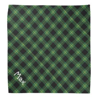 Bandana Nom d'animal domestique vert de motif de plaid de
