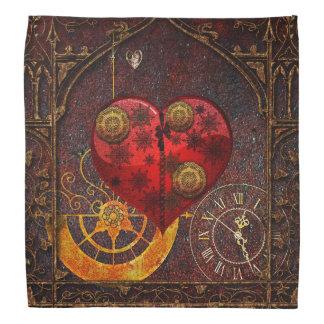 Bandana Papier peint vintage de coeurs de Steampunk