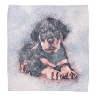 Bandana Peinture de croquis de chiot de rottweiler