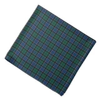 Bandana Plaid bleu-foncé et vert de tartan de clan de