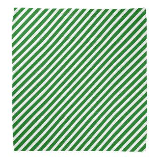 Bandana Rayure diagonale verte et blanche de Noël de sucre