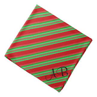 Bandana Rayures rouges et vertes chiques décorées d'un