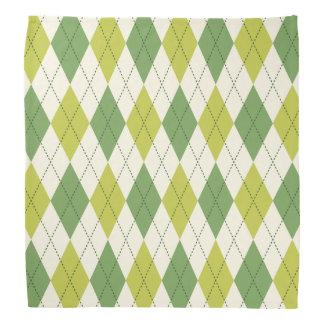 Bandana Rétro motif à motifs de losanges géométrique vert