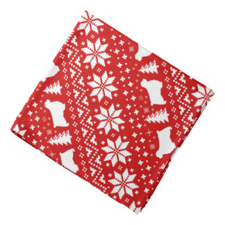 Bandana Rouge de motif de Noël de silhouettes d'épagneul