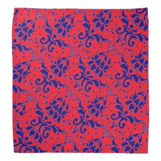 Bandana rouge et bleu de damassé