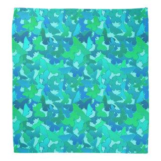 Bandana Troupeau de bleu de papillons, de turquoise,