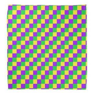 Bandana Vert de mardi gras, jaune, carrés pourpres