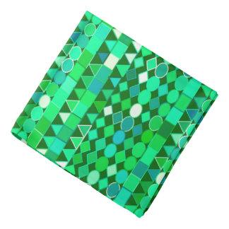 Bandana Vert géométrique et vert tribal moderne et Aqua