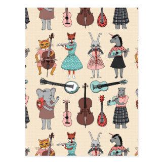 Bande animale extraordinaire d'alphabet - fille cartes postales
