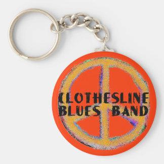 Bande de bleus de corde à linge - porte - clé de  porte-clé rond