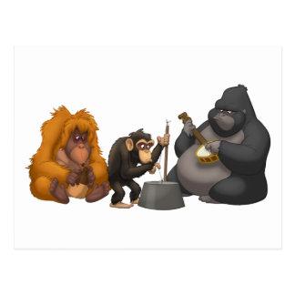 Bande de cruche de la carte postale de singes
