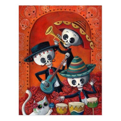 Bande de squelette de Dia de Muertos Musical Cartes Postales