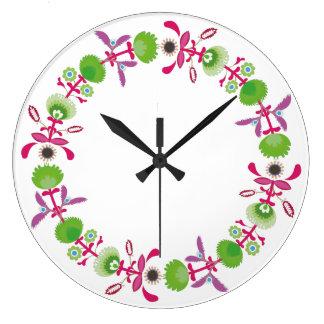 Bande décorative florale polonaise, horloge