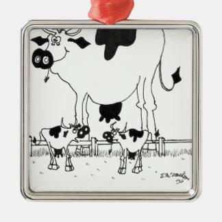 Bande dessinée 3372 de vache ornement carré argenté