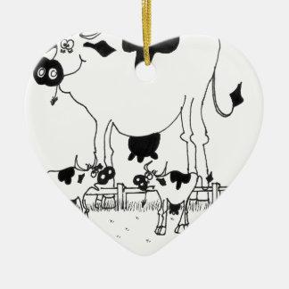 Bande dessinée 3372 de vache ornement cœur en céramique