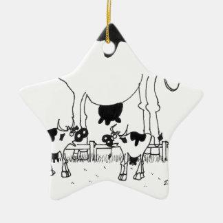 Bande dessinée 3372 de vache ornement étoile en céramique