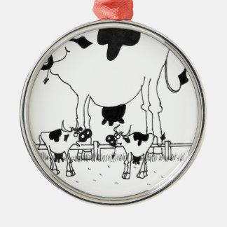 Bande dessinée 3372 de vache ornement rond argenté