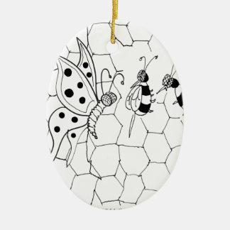 Bande dessinée 8922 de papillon ornement ovale en céramique